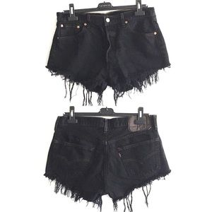 LEVI's High Rise Cut Off Denim Shorts Black 32